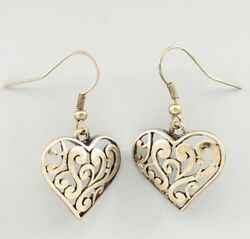 New - Brighton Beach Scrollwork Heart Drop Earrings Gold-tone