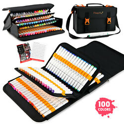 100 Colors Markers Pens Alcohol Graphic Art Twin Tips Highlighters Case Set US