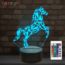 Horse 3D LED Lamp Night Light with 16 Colors Sleeping Decor Nightlights for Kids