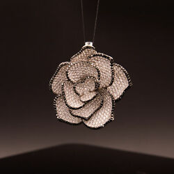 18k White Gold Flower Pendant with Encrusted Clear and Black Diamonds