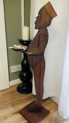 ANTIQUE Art Deco Wooden Figure Silent Butler Bellboy  Dumb Waiter Smoking Stand