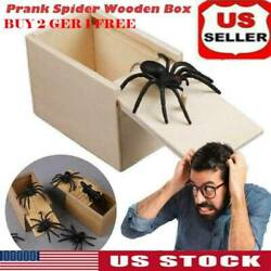 Funny Prank Spider Wooden Box Joke Gag Toy Kids Adult Case in Trick Gifts