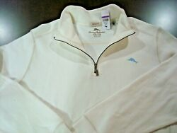 TOMMY BAHAMA Relax Men's White Sweater Pullover 14 Zip Long Sleeve Size 2XL New
