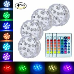Underwater Submersible LED Lights RGB Remote Control Battery Operated Waterproof $13.77