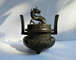 Antique Chinese Japanese Bronze Foo Dog Lion Dragon Tripod Censer ~ Signed