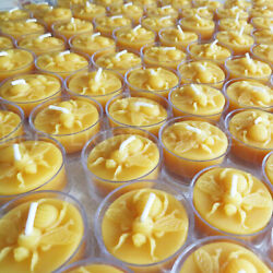 🐝 Beeswax Honey Bee Tealights BULK 100% Pure Candles Handcrafted in USA 🐝 $19.95