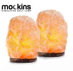 Mockins 2 Pack Natural Hand Carved Himalayan Salt Lamp with Beautiful Wood Base $21.99