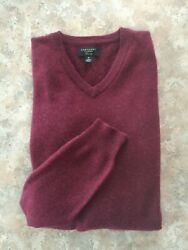 CHARTER CLUB CASHMERE Mens M Wine Red V-Neck Pullover Sweater PERFECT