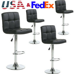 Set of 2 Counter Height Bar Stools Leather Adjustable Swivel Pub Chairs In white $78.90