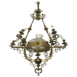 Large Vintage 1920's French Rococo Brass Chandelier Lighting 7 Branch Glass Dome
