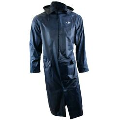 RK Safety RC-PP-44 Navy PVC Polyester Trench Rain Long Coat With Hoodie $25.94