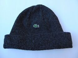 LACOSTE MENS KNIT RIBBED WOOL BEANIE CHARCOAL GRAY CROC