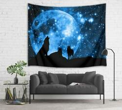 Night Starry Sky Moon Wolf Tapestry Wall Hanging Wall Art Decor for Bedroom Dorm $15.99