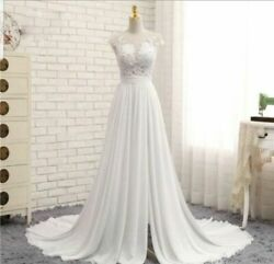 White Cap Sleeve Lace Chiffon Slit Beach Cheap Wedding Dresses Size 2 26 $108.99
