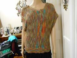 NEW DIRECTIONS MULTICOLOR OPEN KNIT OVER TOP SWEATER SIZE LARGE $26.50