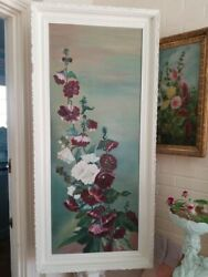 FABULOUS LARGE 19C. VICTORIAN OIL PAINTING HOLLYHOCKS ON CANVAS AMERICAN VINTAGE $495.00