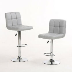 Set of 2 Counter Height Bar Stools Leather Adjustable Swivel Pub Chairs Brown $78.90