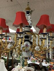 Antique Large Heavy Porcelain Chandelier From Germany
