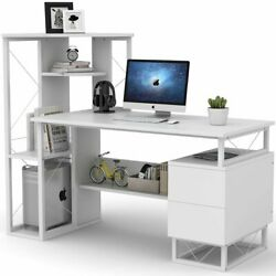 57'' Black White Computer Working Desk with Corner Tower Shelves and Two Drawers