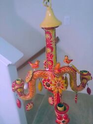 Mexican folk art vintage chandelier by Alfonso Castillo