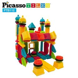 PicassoTiles 112pc Bristle Shape Learning Toy Stacking Educational Blocks PTB112 $19.99