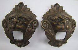 Antique Pair Bronze Monsters Beasts Lion Heads Decorative Architectural Hardware $595.00