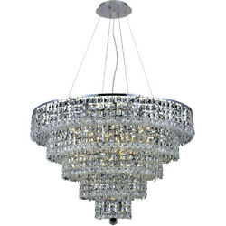 2037 Maxime Collection Chandelier D:30in H:22in Lt:17 Chrome Finish (Swarovsk...
