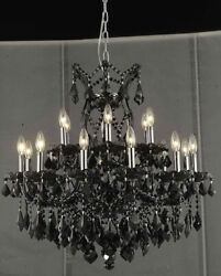 2800 Maria Theresa Collection Chandelier D:30in H:28in Lt:19 Black Finish (Sw...