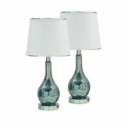 Pilaster Designs Blue Glass With White Fabric Shade Contemporary Table Lamps ... $97.57