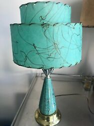 VINTAGE MID CENTURY MODERN TABLE LAMPS PAIR - TURQUOISE GOLD