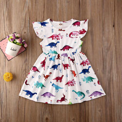 NEW Dinosaur Girls White Sleeveless Dress 2T 3T 4T 5T 6 $10.99