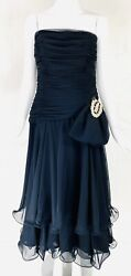 VTG $625 NWT I. MAGNIN Black Strapless Evening Cocktail Chiffon Ruffle Dress M $88.00