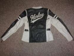 Harley Womens Leather Grey and Cream Jacket Large $229.95