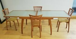 Italian Calligaris Glass Contemporary Dining Table With 4 Chairs $1399.99