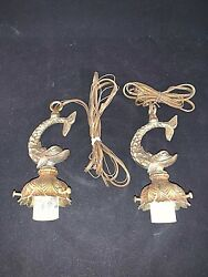 Pair of Vintage Mid Century Fish Pendant Fixtures $65.00