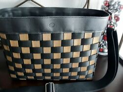 Longaberger MESSENGER BAG TO GO in Black Leather Briefcase Business Tote NEW $100.00