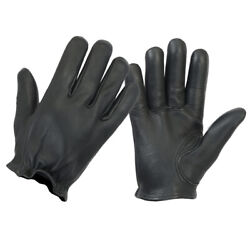 Men#x27;s Premium Police Style Black Genuine Leather Motorcycle Gloves $25.95
