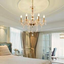 Modern E12 Gold Crystal Chandelier 6 Light Ceiling Pendant Lamp Lighting Fixture $60.80