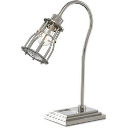 Currey & Company 6000-0384 Davy Desk Lamp Polished NickelClear