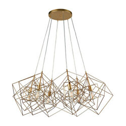 Dimond Lighting 1141-032 Box 6 Light 48 inch Gold Leaf Chandelier Ceiling Light