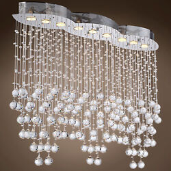 Drops of Rain 9 Light Chrome LED Pendant with Clear Swarovski Crystals