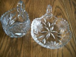 ANTIQUE CRYSTAL CUT GLASS CANDY SERVING DISH AND CREAMER W HANDLE SAW TOOTH EDGE $24.99