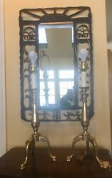 """Vintage FREDERICK COOPER BRASS Tripod Vintage Lamps 32"""" TALL Pair $239.00"""