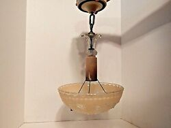 Vintage Light Fixture Glass Shade Beaded Chain Ceiling Hard Wire $49.99