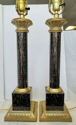 Vintage Brass Column Table Lamps .LEVITON VINTAGE LAMPS.VTG TABLE LAMP SET $219.99