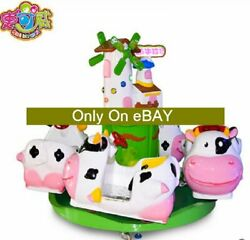 Cute cow kids carousel amusement merry go round for kids playground children fun