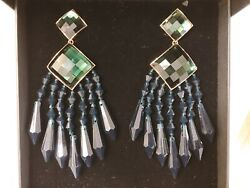 New in Box BALMAIN X Hamp;M DEEP GREEN CHANDELIER CLIP EARRINGS RUNWAY LIMITED $71.00