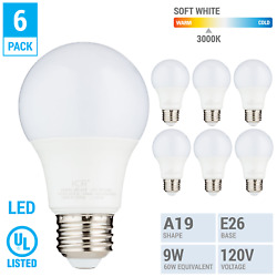6 Pack LED A19 Bulb 9W 60W Equivalent Non Dimmable 3000K Soft White Medium E26 $11.15