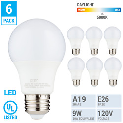 6 Pack LED A19 Bulb 9W 60W Equivalent Non Dimmable 5000K Daylight Medium E26 $12.10