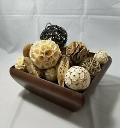 HOME DECORATIONS SQUARE WOODEN TABLE VASE WITH RANDOM FILLER EARTHY $29.99
